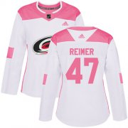 Wholesale Cheap Adidas Hurricanes #47 James Reimer White/Pink Authentic Fashion Women's Stitched NHL Jersey