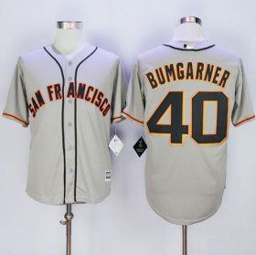 Wholesale Cheap Giants #40 Madison Bumgarner Grey New Cool Base Road Stitched MLB Jersey