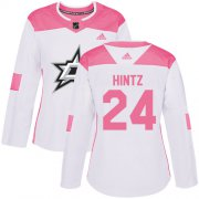 Cheap Adidas Stars #24 Roope Hintz White/Pink Authentic Fashion Women's Stitched NHL Jersey