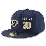 Wholesale Cheap Los Angeles Rams #30 Todd Gurley Snapback Cap NFL Player Navy Blue with Gold Number Stitched Hat