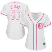 Wholesale Cheap Orioles #56 Darren O'Day White/Pink Fashion Women's Stitched MLB Jersey