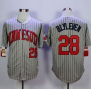 Wholesale Cheap Mitchell And Ness 1987 Twins #28 Bert Blyleven Grey Throwback Stitched MLB Jersey