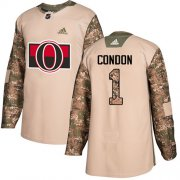 Wholesale Cheap Adidas Senators #1 Mike Condon Camo Authentic 2017 Veterans Day Stitched Youth NHL Jersey