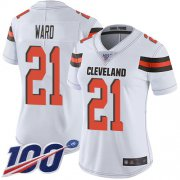 Wholesale Cheap Nike Browns #21 Denzel Ward White Women's Stitched NFL 100th Season Vapor Limited Jersey