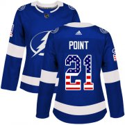 Wholesale Cheap Adidas Lightning #21 Brayden Point Blue Home Authentic USA Flag Women's Stitched NHL Jersey