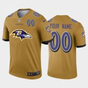 Wholesale Cheap Baltimore Ravens Custom Gold Men's Nike Big Team Logo Player Vapor Limited NFL Jersey