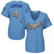 Wholesale Cheap Royals #4 Alex Gordon Light Blue Women's 2015 World Series Champions Gold Program Cool Base Stitched MLB Jersey