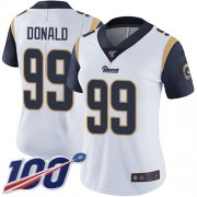Wholesale Cheap Nike Rams #99 Aaron Donald White Women's Stitched NFL 100th Season Vapor Limited Jersey