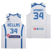Wholesale Cheap Men's Hellas Eurobank #34 Antetokounmpo G. White Basketball Stitched Jersey