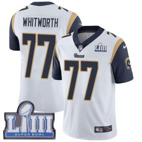 Wholesale Cheap Nike Rams #77 Andrew Whitworth White Super Bowl LIII Bound Youth Stitched NFL Vapor Untouchable Limited Jersey