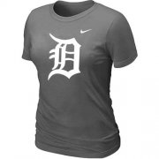 Wholesale Cheap Women's Detroit Tigers Heathered Nike Dark Grey Blended T-Shirt