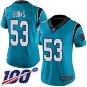 Wholesale Cheap Nike Panthers #53 Brian Burns Blue Alternate Women's Stitched NFL 100th Season Vapor Limited Jersey