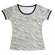 Wholesale Cheap Women's Nike Minnesota Vikings Chest Embroidered Logo Zebra Stripes T-Shirt
