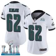 Wholesale Cheap Nike Eagles #62 Jason Kelce White Super Bowl LII Women's Stitched NFL Vapor Untouchable Limited Jersey