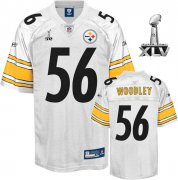 Wholesale Cheap Steelers #56 LaMarr Woodley White Super Bowl XLV Stitched NFL Jersey