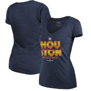 Wholesale Cheap Houston Astros Majestic Threads Women's 2019 World Series Bound Local Tri-Blend V-Neck T-Shirt Navy