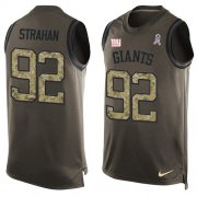 Wholesale Cheap Nike Giants #92 Michael Strahan Green Men's Stitched NFL Limited Salute To Service Tank Top Jersey