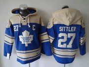 Wholesale Cheap Maple Leafs #27 Darryl Sittler Blue Sawyer Hooded Sweatshirt Stitched NHL Jersey