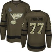 Wholesale Cheap Adidas Blues #77 Pierre Turgeon Green Salute to Service Stanley Cup Champions Stitched NHL Jersey