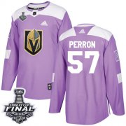 Wholesale Cheap Adidas Golden Knights #57 David Perron Purple Authentic Fights Cancer 2018 Stanley Cup Final Stitched Youth NHL Jersey