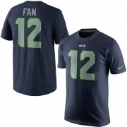 Wholesale Cheap Seattle Seahawks #12 Fan Nike Player Pride Name & Number T-Shirt Navy