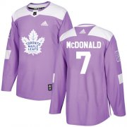 Wholesale Cheap Adidas Maple Leafs #7 Lanny McDonald Purple Authentic Fights Cancer Stitched NHL Jersey