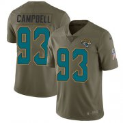 Wholesale Cheap Nike Jaguars #93 Calais Campbell Olive Youth Stitched NFL Limited 2017 Salute to Service Jersey