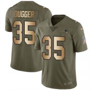 Wholesale Cheap Nike Patriots #35 Kyle Dugger Olive/Gold Youth Stitched NFL Limited 2017 Salute To Service Jersey
