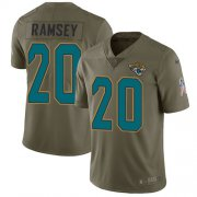 Wholesale Cheap Nike Jaguars #20 Jalen Ramsey Olive Men's Stitched NFL Limited 2017 Salute to Service Jersey