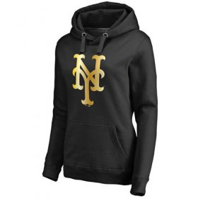Wholesale Cheap Women\'s New York Mets Gold Collection Pullover Hoodie Black
