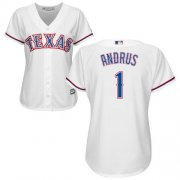 Wholesale Cheap Rangers #1 Elvis Andrus White Home Women's Stitched MLB Jersey