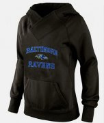 Wholesale Cheap Women's Baltimore Ravens Heart & Soul Pullover Hoodie Black