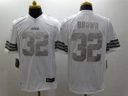 Wholesale Cheap Nike Browns #32 Jim Brown White Men's Stitched NFL Limited Platinum Jersey