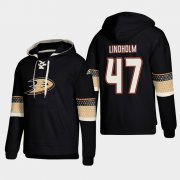 Wholesale Cheap Anaheim Ducks #47 Hampus Lindholm Black adidas Lace-Up Pullover Hoodie