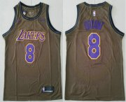 Wholesale Cheap Men's Los Angeles Lakers #8 Kobe Bryant Olive Stitched Nike Swingman Jersey With The Sponsor Logo
