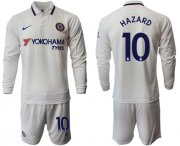 Wholesale Cheap Chelsea #10 Hazard Away Long Sleeves Soccer Club Jersey