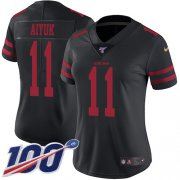 Wholesale Cheap Nike 49ers #11 Brandon Aiyuk Black Alternate Women's Stitched NFL 100th Season Vapor Untouchable Limited Jersey