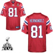 Wholesale Cheap Patriots #81 Randy Moss Red Alternate Super Bowl XLVI Embroidered NFL Jersey