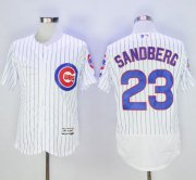 Wholesale Cubs #23 Ryne Sandberg White Flexbase Authentic Collection with 100 Years at Wrigley Field Commemorative Patch Stitched Baseball Jersey
