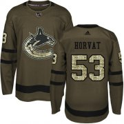 Wholesale Cheap Adidas Canucks #53 Bo Horvat Green Salute to Service Youth Stitched NHL Jersey