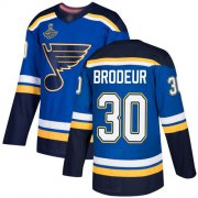Wholesale Cheap Adidas Blues #30 Martin Brodeur Blue Home Authentic Stanley Cup Champions Stitched NHL Jersey