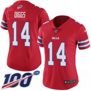 Wholesale Cheap Nike Bills #14 Stefon Diggs Red Women's Stitched NFL Limited Rush 100th Season Jersey