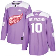 Wholesale Cheap Adidas Red Wings #10 Alex Delvecchio Purple Authentic Fights Cancer Stitched NHL Jersey