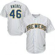 Wholesale Cheap Brewers #46 Corey Knebel White Strip Cool Base Stitched Youth MLB Jersey
