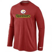 Wholesale Cheap Nike Pittsburgh Steelers Authentic Logo Long Sleeve T-Shirt Red