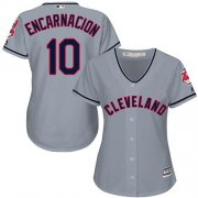 Wholesale Cheap Indians #10 Edwin Encarnacion Grey Road Women's Stitched MLB Jersey