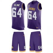 Wholesale Cheap Nike Vikings #64 Josh Kline Purple Team Color Men's Stitched NFL Limited Tank Top Suit Jersey