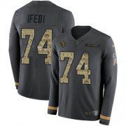 Wholesale Cheap Nike Bears #74 Germain Ifedi Anthracite Salute to Service Men's Stitched NFL Limited Therma Long Sleeve Jersey