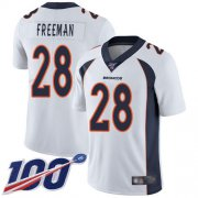 Wholesale Cheap Nike Broncos #28 Royce Freeman White Men's Stitched NFL 100th Season Vapor Limited Jersey
