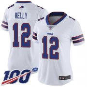 Wholesale Cheap Nike Bills #12 Jim Kelly White Women's Stitched NFL 100th Season Vapor Limited Jersey